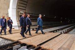 Президент Poroshenko раскрывает новый железнодорожный тоннель в Карпатах Стоковое Изображение