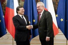 Jose Manuel Barroso и Milos Zeman стоковые фотографии rf