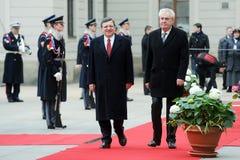 Jose Manuel Barroso и Milos Zeman стоковая фотография rf