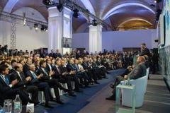 Президент Украины Petro Poroshenko на одиннадцатом ежегодном собрании Стоковое фото RF