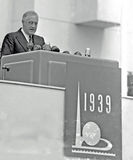 Президент Франклин d Рузвельт раскрывает всемирнаяо ярмарка 1939 Стоковая Фотография RF