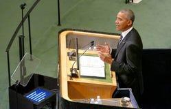 Президент Barack Obama США проводит речь, Генеральную Ассамблею Организации Объединенных Наций Стоковое фото RF