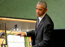 Президент Barack Obama США проводит речь, Генеральную Ассамблею Организации Объединенных Наций Стоковое Изображение