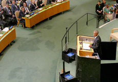 Президент Barack Obama США проводит речь, Генеральную Ассамблею Организации Объединенных Наций Стоковые Фото