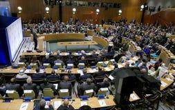 Президент Barack Obama хозяйничал саммит руководителей на глобальном кризисе беженца на допустимых пределах UNGA 71 стоковая фотография rf
