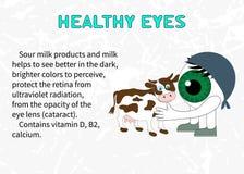 Преимущества молочных продучтов для зрения Стоковая Фотография RF