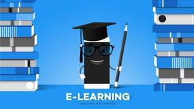 Преимущество образования передвижной иллюстрации вектора E-Laerning схематической онлайн указывает Smartphone шаржа в шляпе выпус иллюстрация вектора