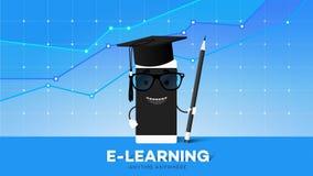 Преимущество образования передвижной иллюстрации вектора E-Laerning схематической онлайн указывает Smartphone шаржа в шляпе выпус иллюстрация штока