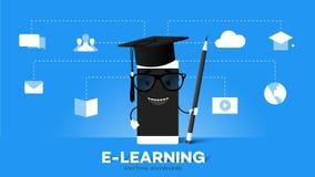 Преимущество образования передвижной иллюстрации вектора E-Laerning схематической онлайн указывает Smartphone шаржа в шляпе выпус бесплатная иллюстрация