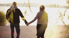 Прекрасная пара идет к озеру с солнцем моргает влиянию видеоматериал