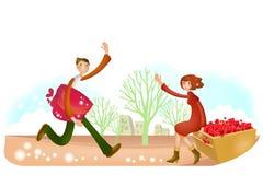 Прекрасный мультфильм Charactors на рождество и день Валентайн иллюстрация штока
