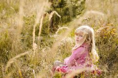 Прелестная девушка в шарфе в лесе осени стоковое изображение
