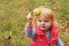 Прелестная девушка малыша с каштаном удерживания светлых волос; предпосылка осени стоковые фото