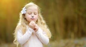Прелестная маленькая девочка выбирая первые цветки весны в древесинах на красивый солнечный весенний день стоковые фото