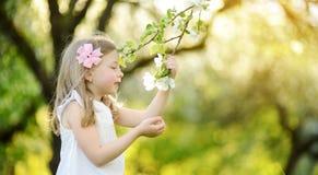 Прелестная маленькая девочка в зацветая саде яблони на красивый весенний день стоковые изображения