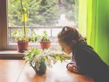 Прелестная маленькая девочка с букетом вишни птицы разветвляет с душистыми белыми цветками Стоковая Фотография RF