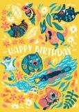 Прелестная поздравительная открытка с австралийскими животными r бесплатная иллюстрация