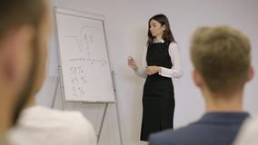 Прелестная уверенная коммерсантка представляя новый проект к партнерам с диаграммой сальто Руководитель группы давая представлени видеоматериал