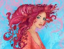 прелестная флористическая весна стиля причёсок девушки Стоковые Изображения RF
