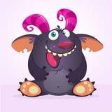 Прелестное милое чудовище мультфильма с розовыми рожками иллюстрация штока