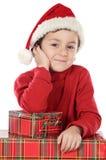 прелестное рождество мальчика стоковое фото rf