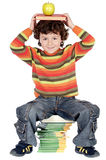 прелестное яблоко записывает изучать ребенка головной Стоковые Изображения