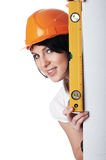 Прелестно девушка строитель стоковые изображения