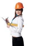 Прелестно девушка строитель стоковое изображение rf