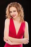 прелестно красный цвет повелительницы вечера платья Стоковые Изображения