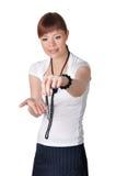 Прелестно молодая женщина дела в белизне Стоковая Фотография