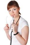 Прелестно молодая женщина дела в белизне Стоковые Фотографии RF