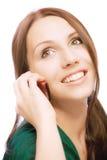 прелестно телефон девушки говорит Стоковые Фотографии RF