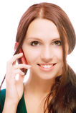 прелестно телефон девушки говорит Стоковые Фото