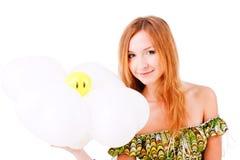 прелестно усмешка девушки цветка Стоковая Фотография