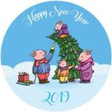 Прелестные свиньи мультфильма, символ 2019 китайских Новых Годов Поросята жизнерадостно празднуя, украшающ рождественскую елку Ки иллюстрация вектора