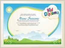 Прелестный диплом ребенк с ландшафтом природы бесплатная иллюстрация