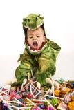 прелестный крокодил costume мальчика Стоковое Изображение