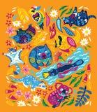 Прелестный набор декоративных австралийских животных изолированных на оранжевой предпосылке также вектор иллюстрации притяжки cor иллюстрация штока