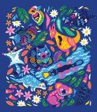 Прелестный набор декоративных австралийских животных изолированных на голубой предпосылке также вектор иллюстрации притяжки corel иллюстрация вектора