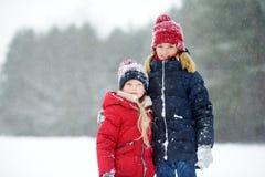2 прелестных маленькой девочки имея потеху совместно в красивом парке зимы Красивые сестры играя в снеге стоковые фото