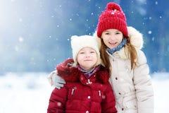 2 прелестных маленькой девочки имея потеху совместно в красивом парке зимы Красивые сестры играя в снеге Стоковое Изображение
