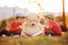 2 прелестных мальчика с его другом плюшевого медвежонка в парке Стоковое Фото