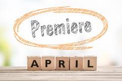 Премьера в знаке старта в апреле Стоковые Фотографии RF