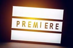 Премьера загоренная годом сбора винограда подписывает внутри кино кино Стоковое Изображение