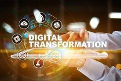 Преобразование цифров, концепция цифрования бизнес-процессов и современная технология стоковая фотография rf