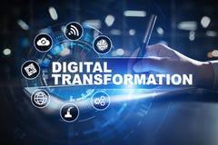 Преобразование цифров, концепция цифрования бизнес-процессов и современная технология иллюстрация вектора