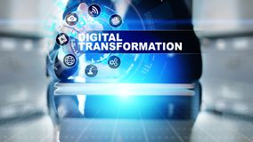 Преобразование цифров, нарушение, нововведение Дело и современная концепция технологии стоковая фотография