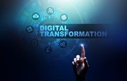 Преобразование цифров, нарушение, нововведение Дело и современная концепция технологии стоковое фото