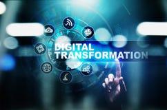 Преобразование цифров, нарушение, нововведение Дело и современная концепция технологии стоковые изображения rf