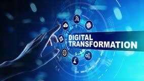 Преобразование цифров, нарушение, нововведение Дело и современная концепция технологии стоковые фотографии rf